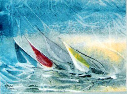 Hauraki Sails (watercolour,2001)