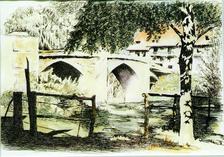 Belcastel, France   (pen & wash, 2005)