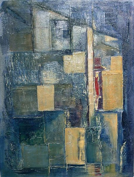 This is an abstract painting in textured acrylic paint depicting a street and figures at night. (Note lady at an upstairs windos and the man leaving at bottom (R) of picture.)